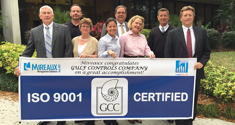 Gulf Controls Company team celebrates ISO 9001 certification