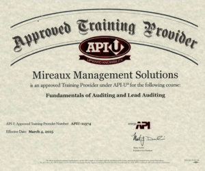 Certificate: Mireaux Management Solutions is an API-U approved training provider