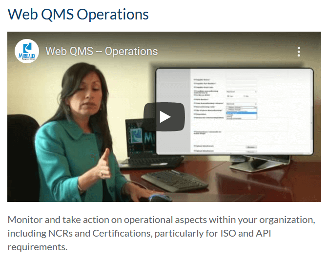 Web QMS Operations
