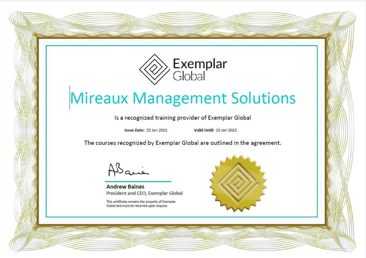 Exemplar Global Certificate